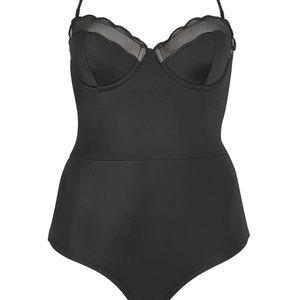 Topshop Black Scallop Swimsuit